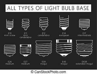 All types of Light Bulb Base on grey.eps - All types of...