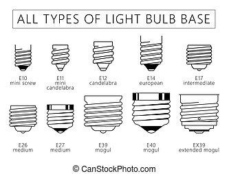 All types of Light Bulb Base.eps - All types of Light Bulb...