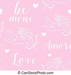 pattern with amours on a pink background.eps - Seamless...