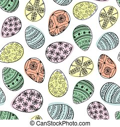 colored Easter eggs.eps - Seamless vector pattern with...
