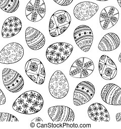 linear Easter eggs.eps - Seamless vector pattern with doodle...