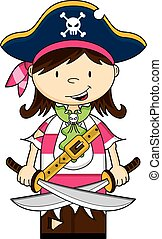 Girl Pirate Captain with Swords