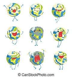 Cute funny world Earth emoji showing different emotions set...