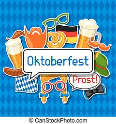 Oktoberfest card with photo booth stickers. Design for...