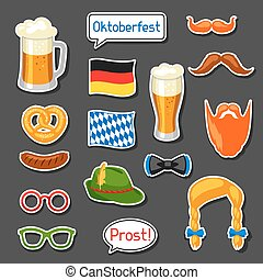Set of Oktoberfest photo booth stickers. Accessories for...