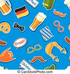 Oktoberfest seamless pattern with photo booth stickers....