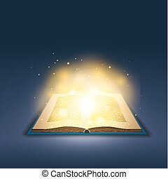 Open book with magic golden light on dark