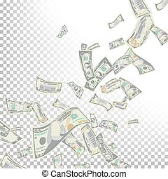 Flying Dollar Banknotes Vector. Cartoon Money - Flying US...
