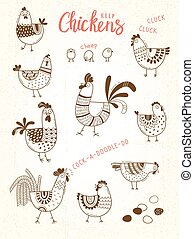 Vector images of chickens, hens, cocks, eggs in cartoon style, line art. Elements for design cover food package, advertising banner, card