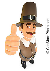 3D Thanksgiving man with thumb up - 3d thanksgiving people...