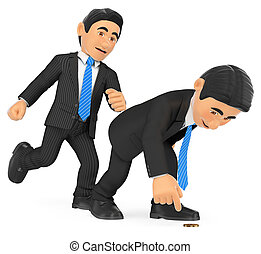 3D Businessman giving a kick in to another who is crouched