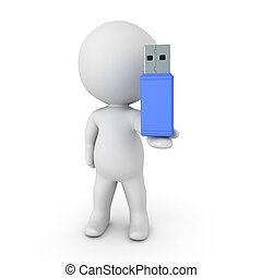3D Character holding a large blue USB stick in his hand....