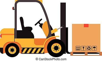 Vector forklift truck with cardboard box