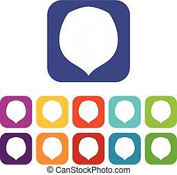 Hazelnut icons set flat - Hazelnut icons set vector...