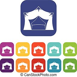 Awning tent icons set flat
