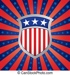 Red White and Blue Shield on a Stars and Stripes Background
