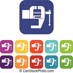 Vise tool icons set flat - Vise tool icons set vector...
