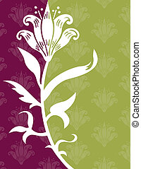 Flower on a Green and Purple Background