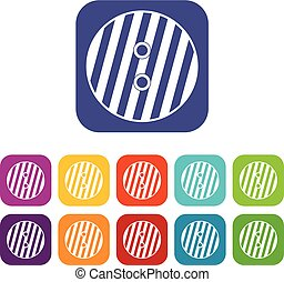 Striped sewing button icons set flat - Striped sewing button...