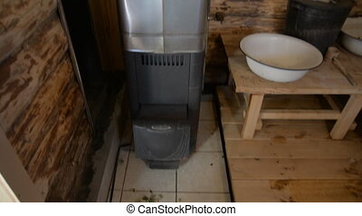 Wood stove in the Russian bath