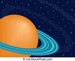 Planet Saturn on a Starry Sky Background