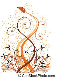An abstract orange floral vector background with a large...