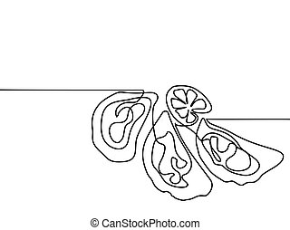 Oysters with lemone. Continuous line drawing. - Continuous...