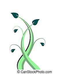 An abstract green floral design
