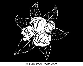boutonniere rose with leaves - Black and white stylized...