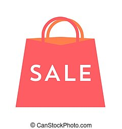 Sale text on red bag. Flat vector illustration for your design