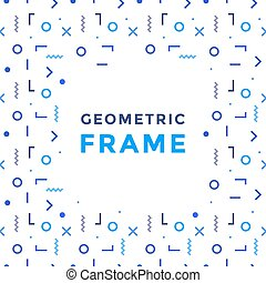 Vector geometric shapes frame. Rectangles, lines and circles...
