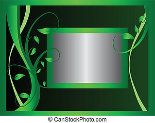 A green and silver floral background