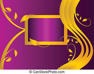 a purple and gold floral background