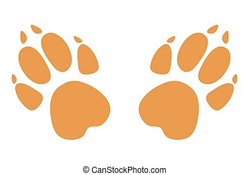 Paw prints. Logo. Vector illustration. Brown on white background. Vector.