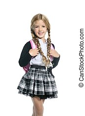 little blond school girl with backpack portrait on white