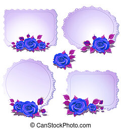 beautiful blue flowers ,roses, on a white