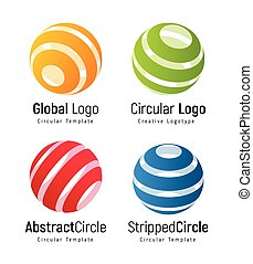Orange global logo template, green circular simple logotype, red abstract circle company sign, blue stripped round shape. Swirl vector icons set.