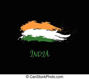 Independence day of India hand drawn sign on black background. Indian national three color flag symbol vector illustration. August 15 holiday banner.