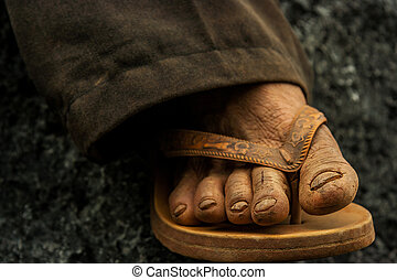 Travelling on budget. - Travelling on a shoestring. Wrinkled...
