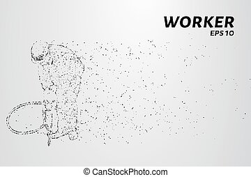 Road worker of the particles. Road worker with a jackhammer.