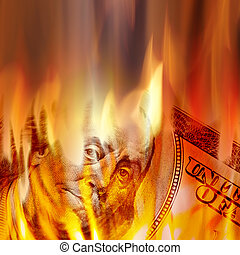 Money Burning in Flames - Burning American money with...