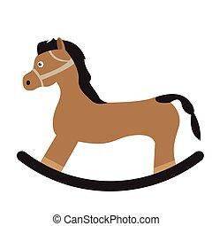 Isolated wooden horse on a white background, Vector...