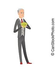 Senior caucasian businessman holding money. - Caucasian...
