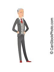 Gray senior caucasian businessman laughing. - Senior...