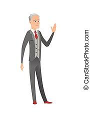 Senior caucasian businessman waving hand. - Caucasian...
