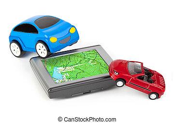 GPS and toy cars isolated on white background