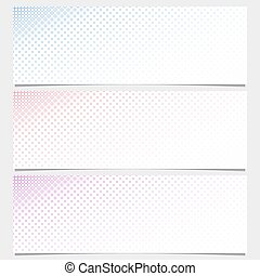 Halftone circle pattern banner template set - vector design from rings in varying sizes