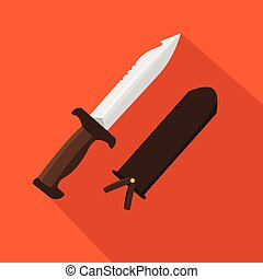 Hunter knife. Flat and cartoon style. Vector illustration. Hunting season.