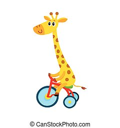 Cute little giraffe character riding bicycle, tricycle, cycling, cartoon illustration
