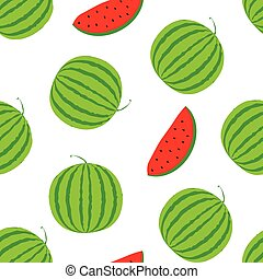 Summer positive vector seamless background with big watermelon. Visual vitamins pattern. Green and red watermelon slice illustration. White texture with fresh melon berry.